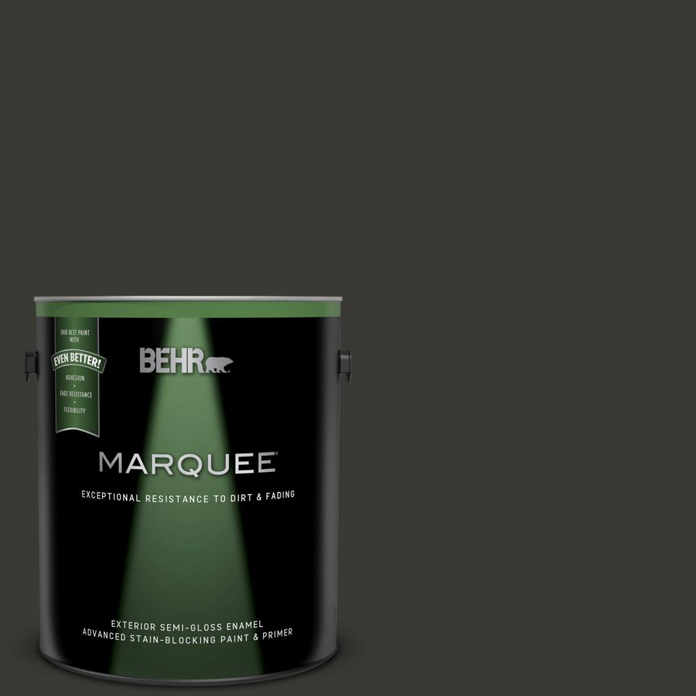 1 gal. #N510-7 Blackout Semi-Gloss Enamel Exterior Paint and Primer in One