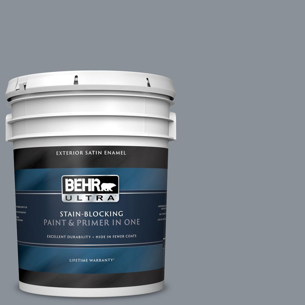 5 gal. #PPU18-04 Dark Pewter Satin Enamel Exterior Paint and Primer in One