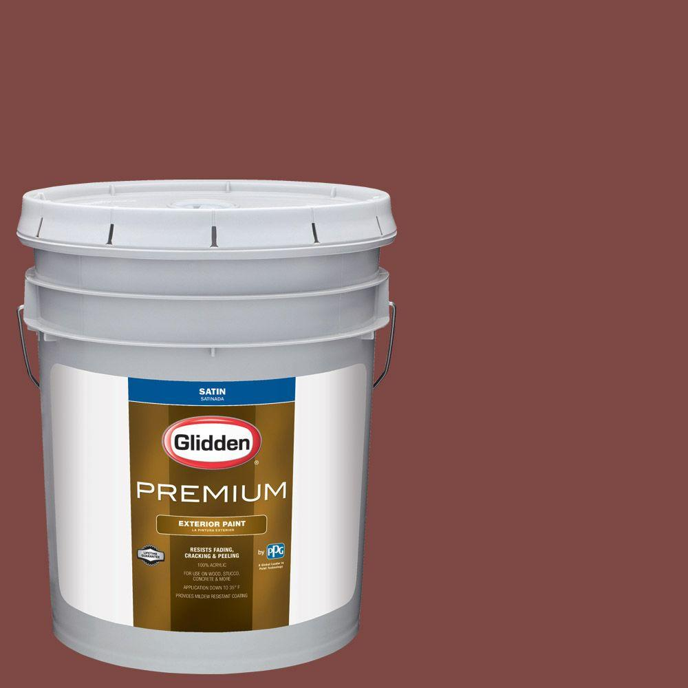 5-gal. #HDGR65U Colonial Red Satin Latex Exterior Paint