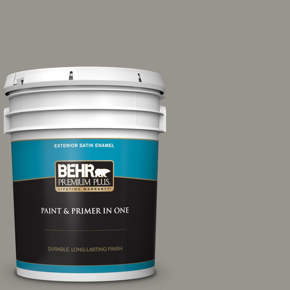 5 gal. #N360-4 Battleship Gray Satin Enamel Exterior Paint and Primer in One