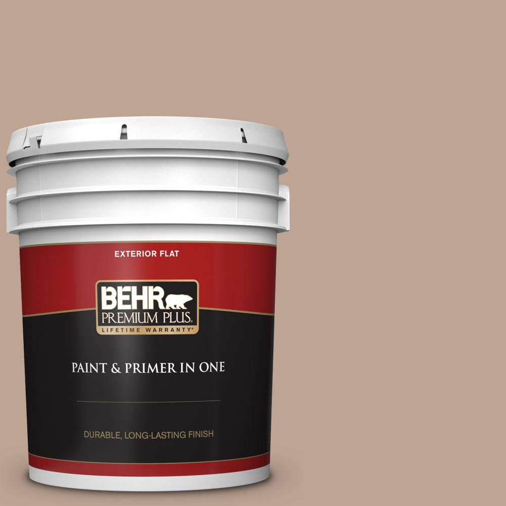 5 gal. #700D-4 Brown Teepee Flat Exterior Paint and Primer in One