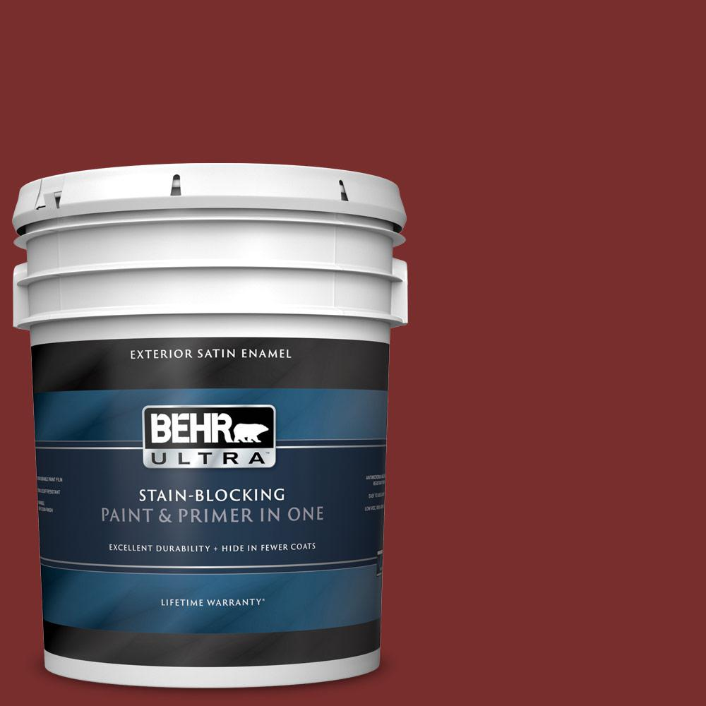 5 gal. #PPU2-02 Red Pepper Satin Enamel Exterior Paint and Primer in One
