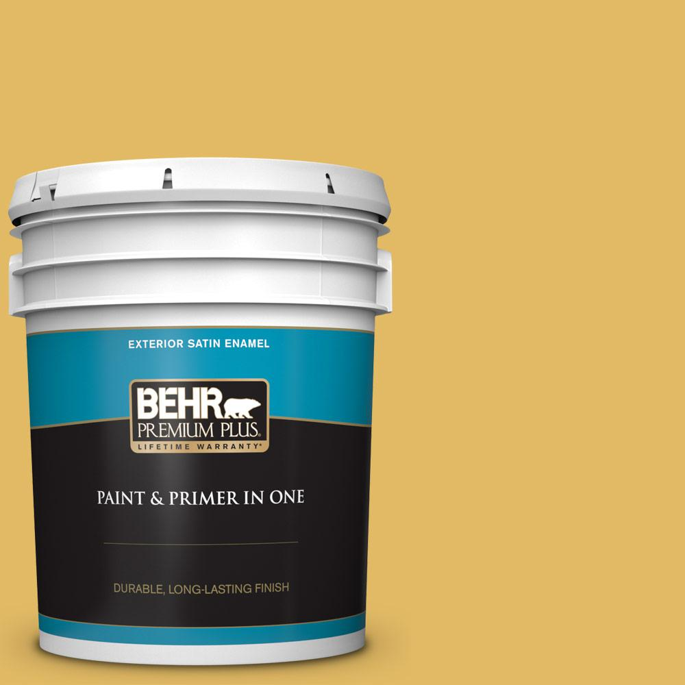 5 gal. #MQ4-12 Dandelion Wish Satin Enamel Exterior Paint and Primer in One