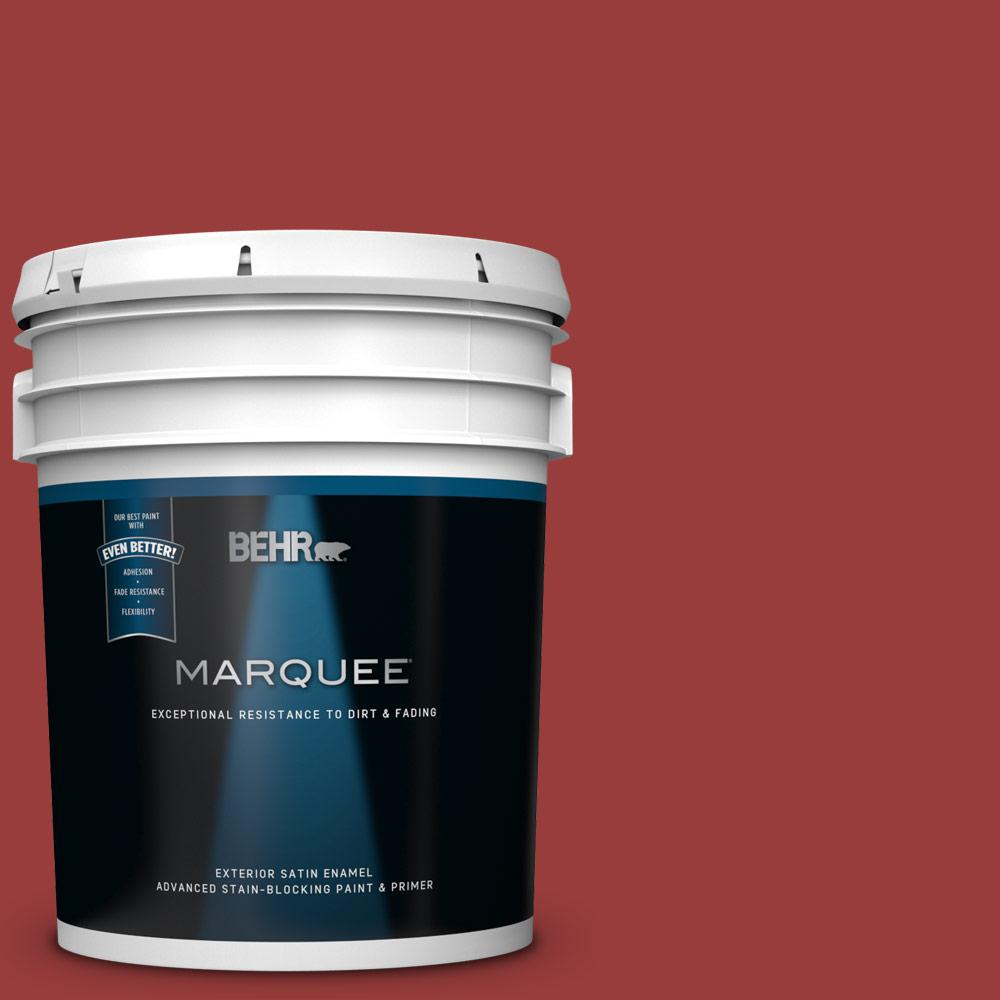 5 gal. #MQ1-10 Red My Mind Satin Enamel Exterior Paint and Primer in One