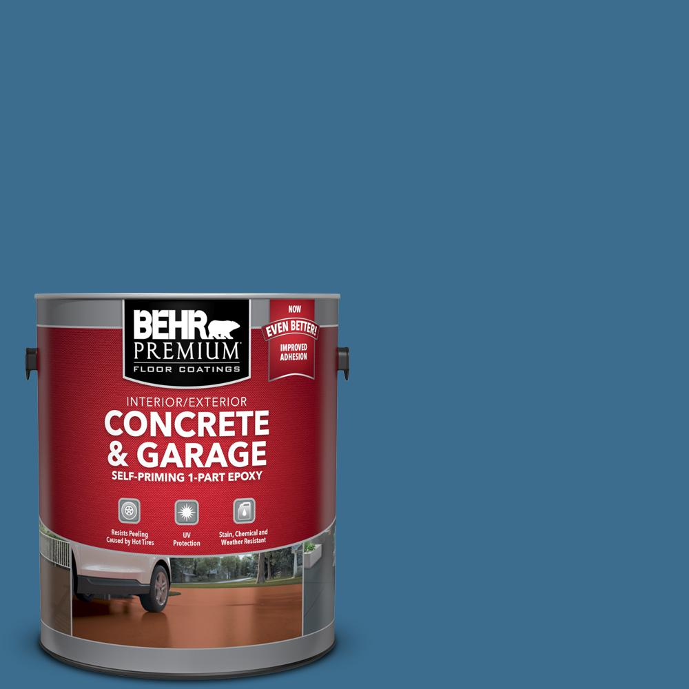 1 gal. #M500-5 Sojourn Blue Self-Priming 1-Part Epoxy Satin Interior/Exterior Concrete and Garage Floor Paint