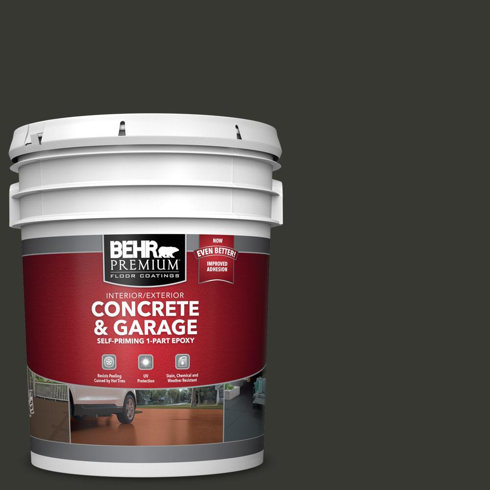 5 gal. #N520-7 Carbon 1-Part Epoxy Satin Interior/Exterior Concrete and Garage Floor Paint